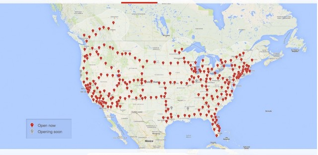 Tesla Motors Supercharger network in the U.S. - map as of March 2016