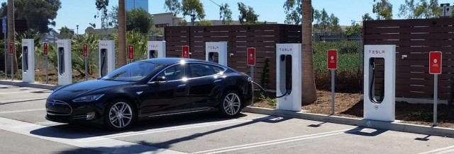 Tesla Motors Supercharger station in Oxnard, California.
