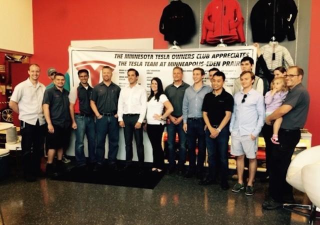 Tesla owners throw appreciation day celebration at Eden Prairie, MN Tesla Store.