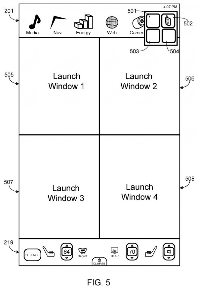 Tesla patent filing shows Model S screen with four-square application windows