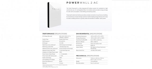 Tesla Powerwall 2 AC battery storage specifications