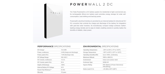 Tesla Powerwall 2 DC battery storage specifications