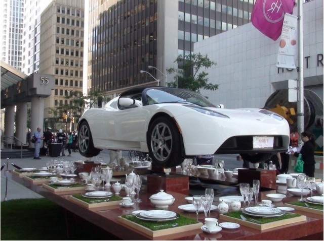 Tesla Roadster on teacups at William Ashley in Toronto