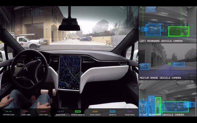 Tesla self-driving demonstration video screenshot