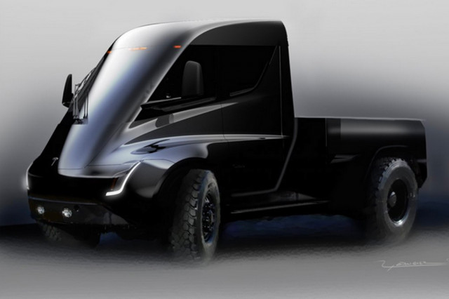 Tesla Semi early sketches possibly preview design of Tesla pickup truck