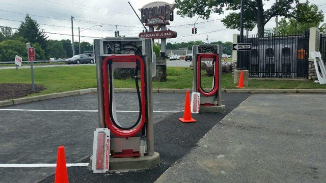 Tesla Supercharger site in Newburgh, New York, under construction - June 2015