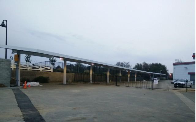 Tesla Supercharger site with photovoltaic solar panels, Rocklin, California, Feb 2015