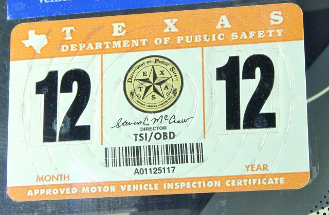 Texas inspection sticker, courtesy Flickr user stresslessauto