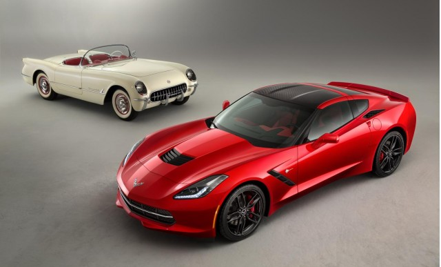 The 2014 Corvette Stingray poses with the 1953 Corvette - image: GM Corp
