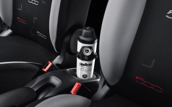 The Fiat 500L, featuring an in-car espresso maker from Lavazza