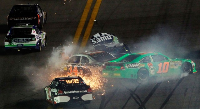 The first crash took out five-time Sprint Cup champ Jimmie Johnson - Photo courtesy NASCAR