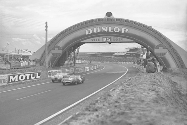 """The Lotus XI """"Wide Body"""" competes at Le Mans, 1956."""
