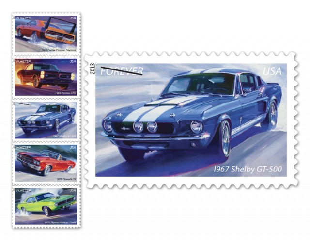 The Muscle Cars Forever stamps, part of the America on the Move series