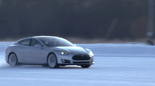 The Tesla Model S in winter testing.