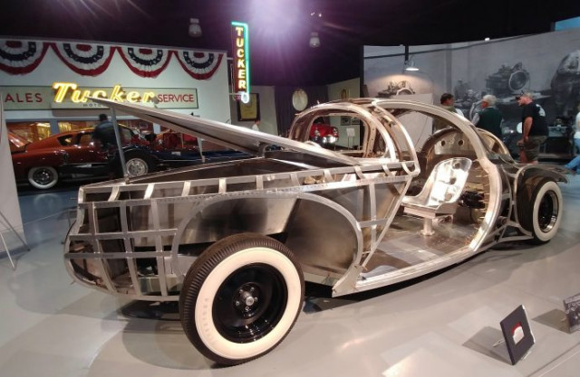 The Tucker Torpedo concept car build was a work-in-progress when displayed recently at the AACA Muse