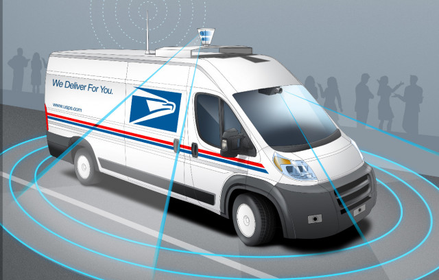 the united states postal services rendering for a self driving mail delivery truck