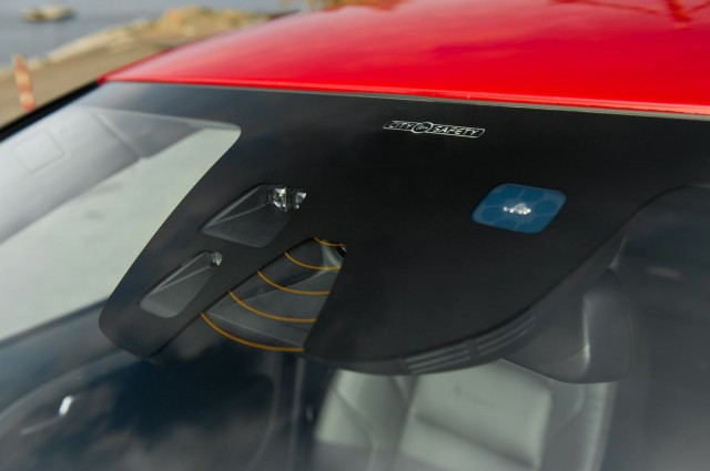 The windshield-mounted sensors of Volvo's City Safety system.