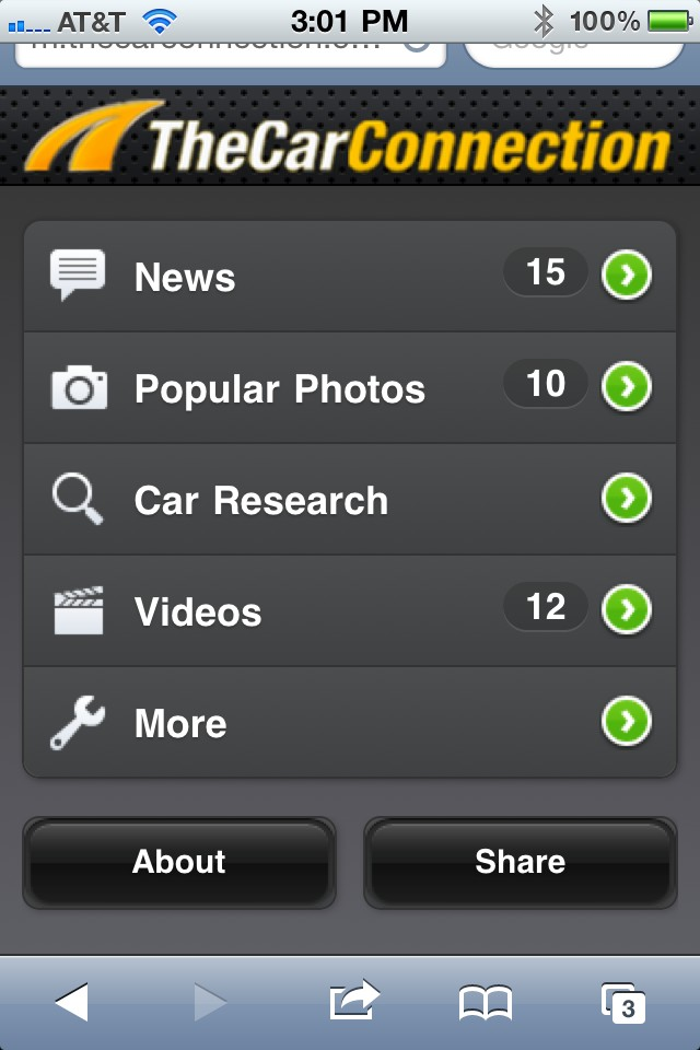 TheCarConnection mobile view