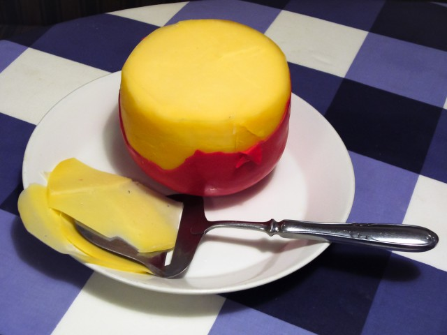 This wheel of Dutch edam cheese