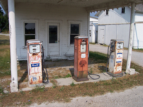 Three Old Gas Pumps Near Waldo, Ohio, by Flickr user The Upstairs Room