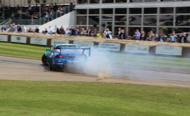 Nissan 240SX S14 drift car makes its way up the hill at 2016 Goodwood Festival of Speed