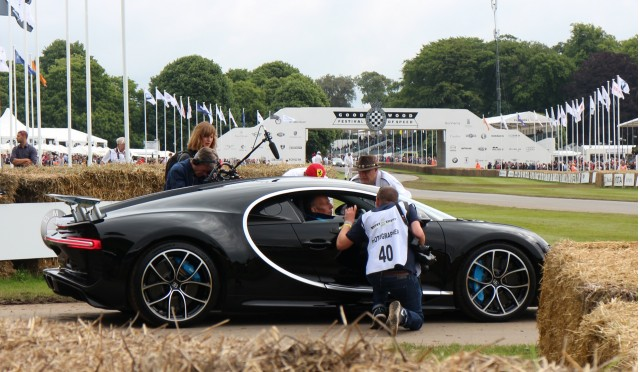 Bugatti Chiron preparing to enter the track at 2016 Goodwood Festival of Speed