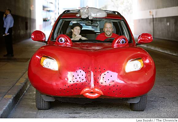 Tom Kennedy and his wife, Haideen Anderson, in Kennedy's Hippopotamobile