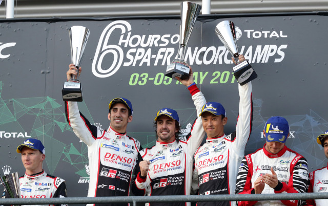 L-R: Sébastien Buemi, Fernando Alonso and Kazuki Nakajima at the 2018/2019 6 Hours of Spa