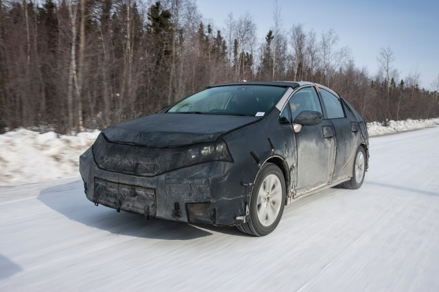 Toyota FCV hydrogen fuel cell vehicle prototype during cold-weather endurance testing in N America