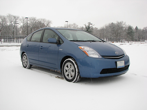 Flickr user Geognerd took this lovely photo of his Prius in the snow in December 2007.