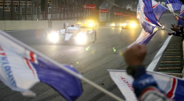 Toyota Racing's TS030 Hybrid car #7 winning the Six Hours of Sao Paulo in Brazil