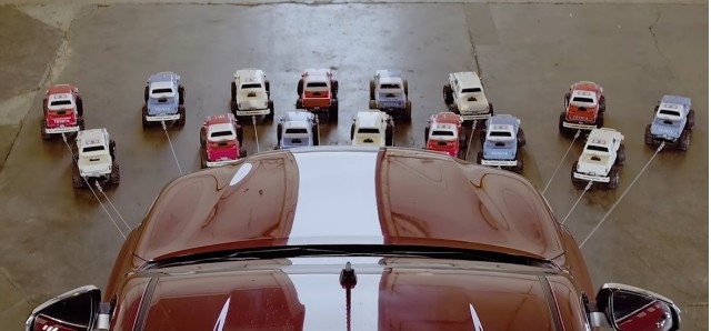 Tamiya R/C trucks pull Toyota Hilux
