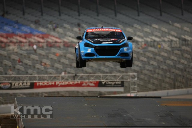 Travis Pastrana jumps his Dodge Dart rallycross car at Texas Motor Speedway. Image via Facebook.