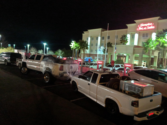 Trucks block Tesla Superchargers in at Hampton Inn, El Paso, Texas [CREDIT: RedfieldStandard, Reddit