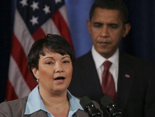 U.S. Environmental Protection Agency adminstrator Lisa Jackson and President Barack Obama