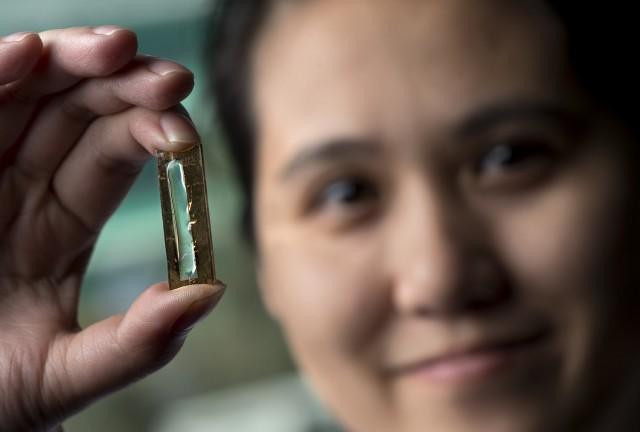 UCI doctoral candidate Mya Le Thai with experimental nanowire-based battery cell