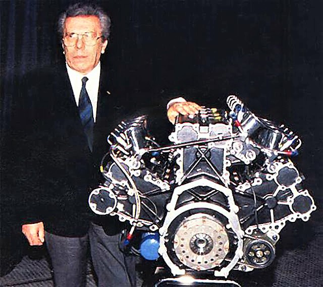 'Uncle' Franco Rocchi beside the Life W12 F1 engine he designed