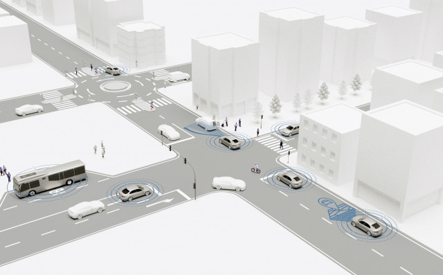 Urban environment with self-driving cars