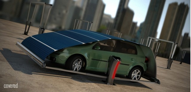 V-Tent solar charging system [Image Hakan Gursu Design Nobis] & Solar Tent Keeps Electric Cars Charged When Parked