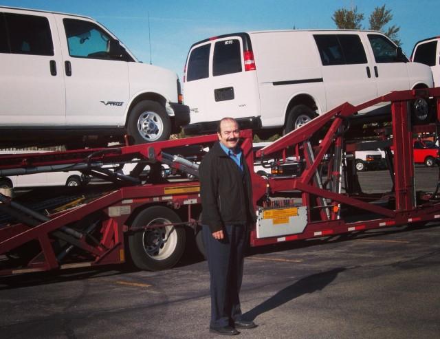 Via Motors CEO Pablo Acedo and eREV extended-range electric vans.
