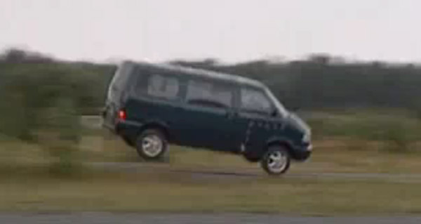 Volkswagen Transporter van thrown into the air