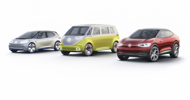 Left to right: Volkswagen ID, ID Buzz and ID Crozz concepts