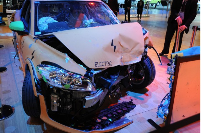 Volvo C30 electric car after crash testing, shown at 2011 Detroit Auto Show