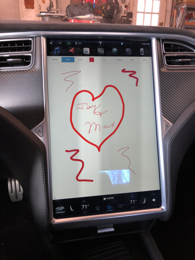 Whimsical fun on touchscreen of Tesla Model S [photo: Jay Lucas]