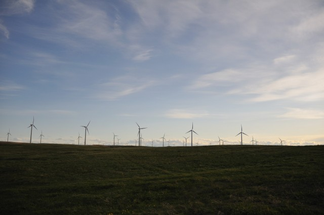 Wind farm outside Fort MacLeod, Alberta, Canada [photographer: Joel Bennett]