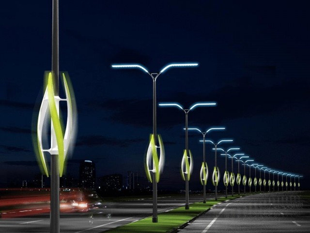 Wind-Turbine Powered Highway Lights, concept by TAK Studio