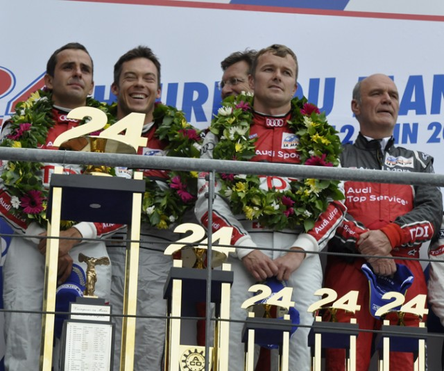 Winning Audi podium at Le Mans - Anne Proffit photo