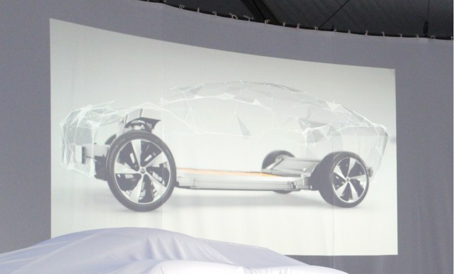 wireframe of possible Faraday Future production vehicle, from company promotional video at CES 2016