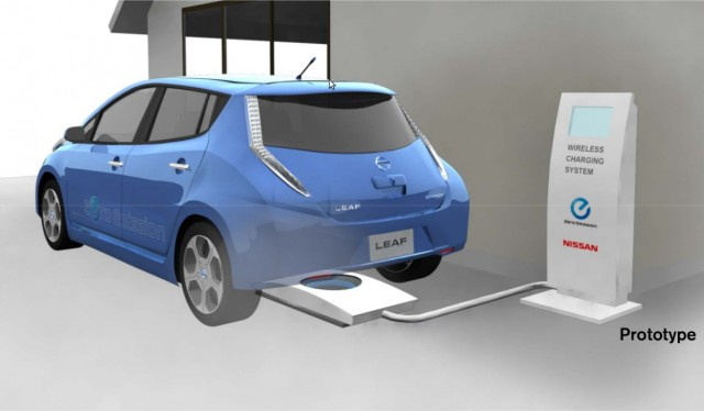 nissan leaf goes wireless charging mat under development. Black Bedroom Furniture Sets. Home Design Ideas