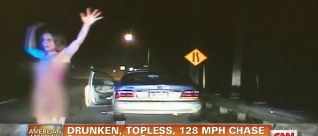 Woman leads police on 128 mph chase while drunk, topless